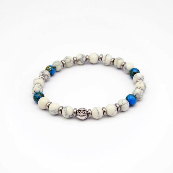 Herren Perlen Armband mit Jade Naturstein schwarz-weiss und blau