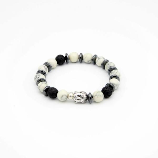 Damen Perlen Armband mit Jade Naturstein schwarz-weiss, Lava und Hematite