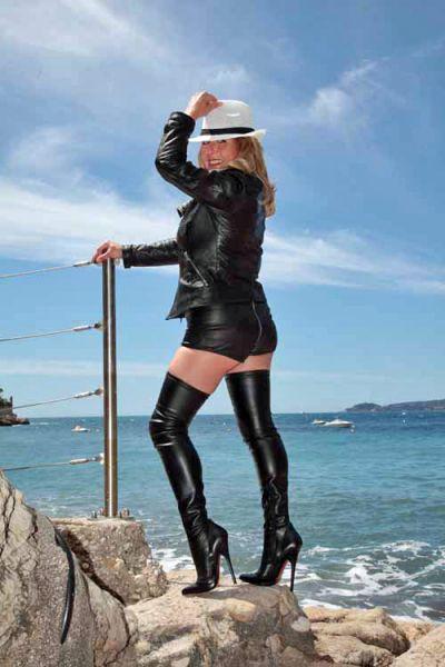 Italienischer High-Heel Stiefel der Extraklasse schwarz Stretchkunstleder