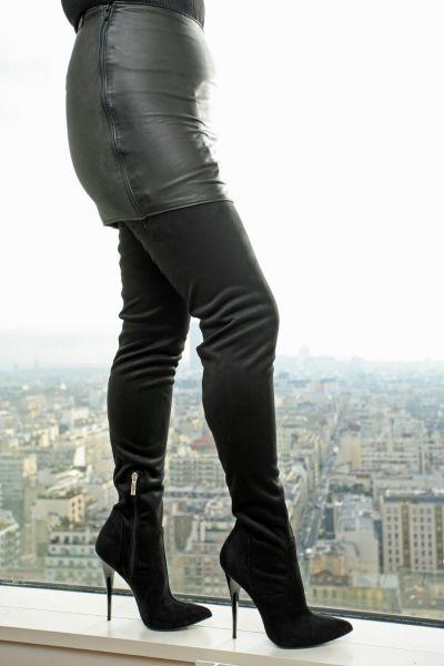 Extralanger Velour Overknee Stiefel