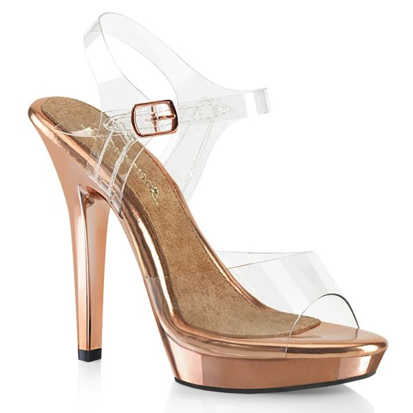 Durchsichtige Riemchen Sandalette mit rose gold verchromtem Plateau LIP-108