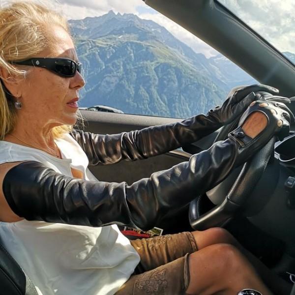 80 cm Damen Autofahrer Lederhandschuhe schulterlang