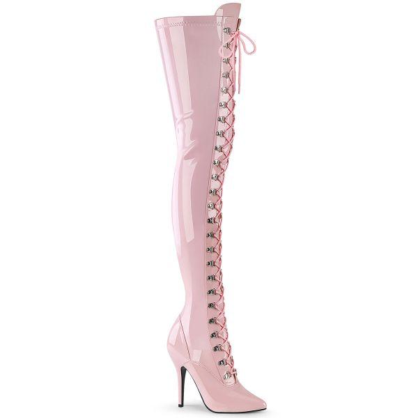 Overknee Stiefel SEDUCE-3024 Lack baby pink mit Schnürung