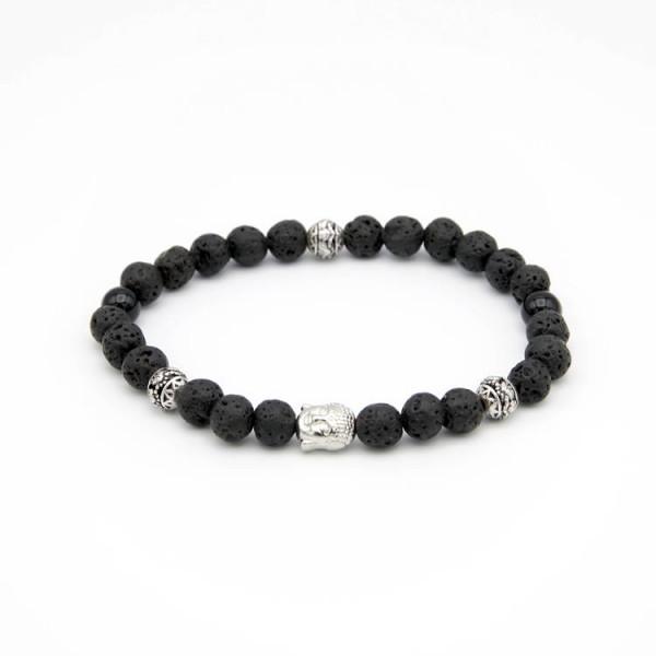 Herren Armband Lava und Jade Naturstein Perlen schwarz