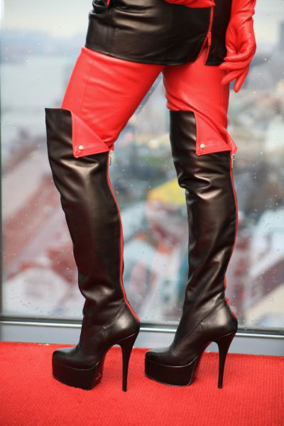 Overknee Lederstiefel schwarz-rot mit Plateau MICELI-Made in Italy