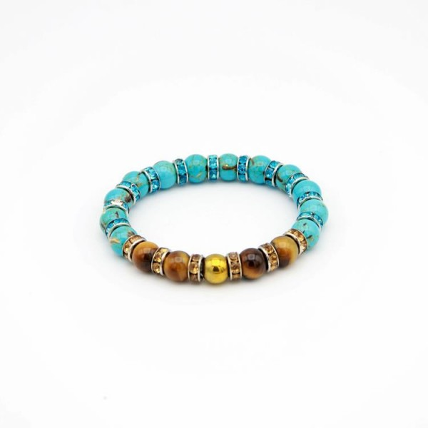 Damen Armband mit Jade Perlen, Tiger Stone braun und Strass