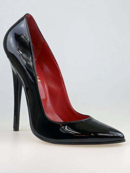 Sehr hohe schwarze Lackleder High Heels mit Stiletto Absatz.