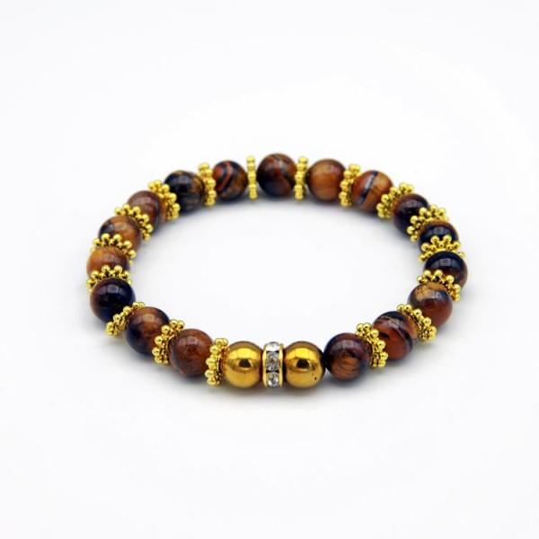Damen Armband Tiger Stone braun, Hematite und Strass