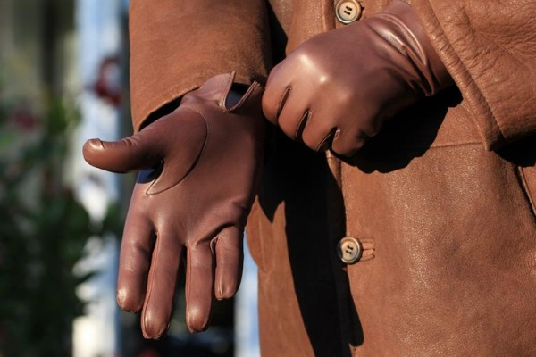 Exklusive klassische braune Lederhandschuhe - MICELI - Made in Italy
