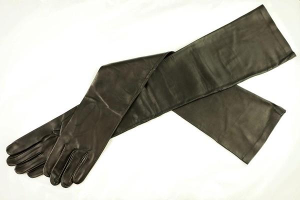 Schwarze Lederhandschuhe schulterlang MICELI - Made in Italy
