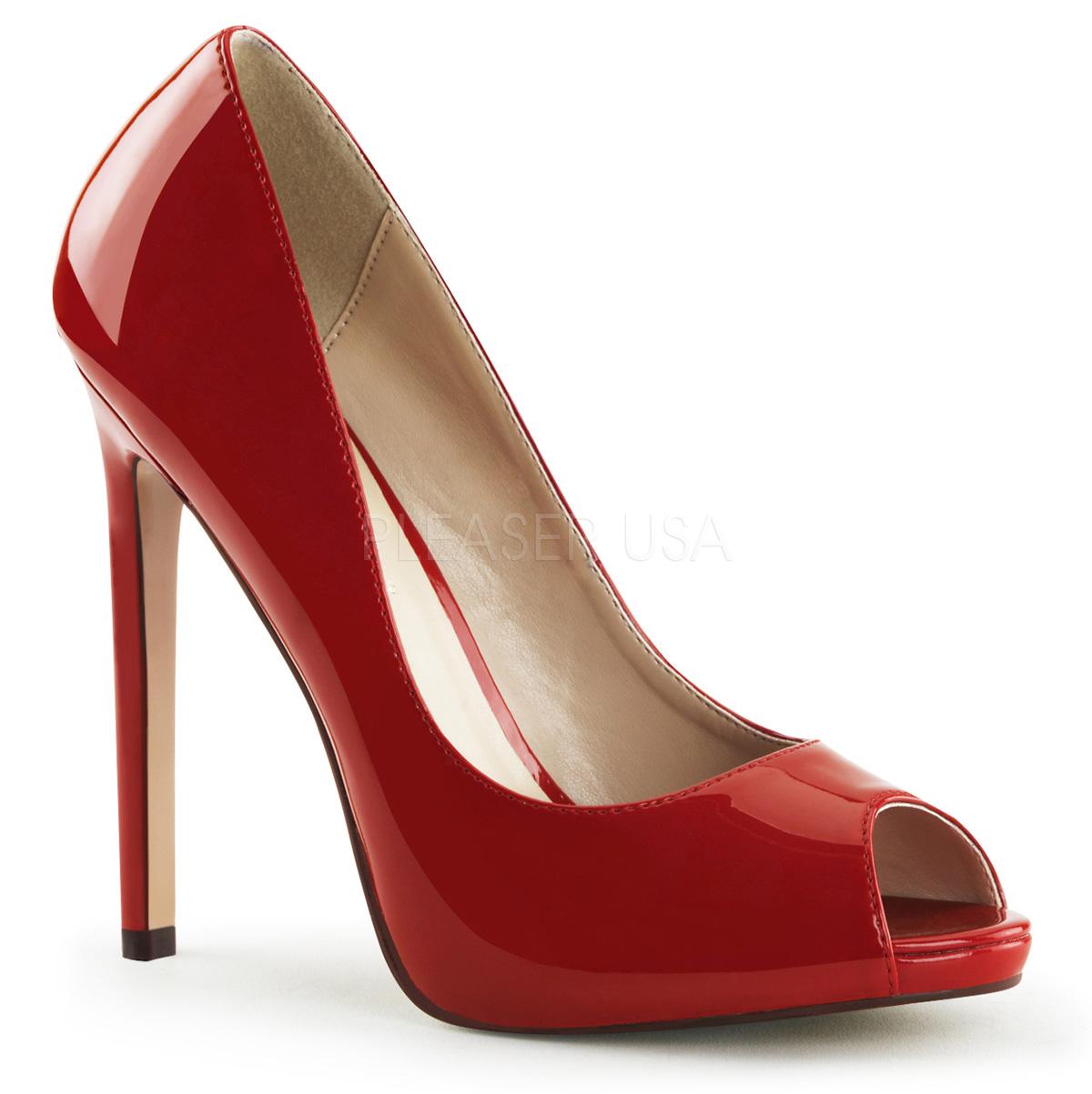 peep toe stiletto high heels mit plateau sexy 42 rot lack. Black Bedroom Furniture Sets. Home Design Ideas