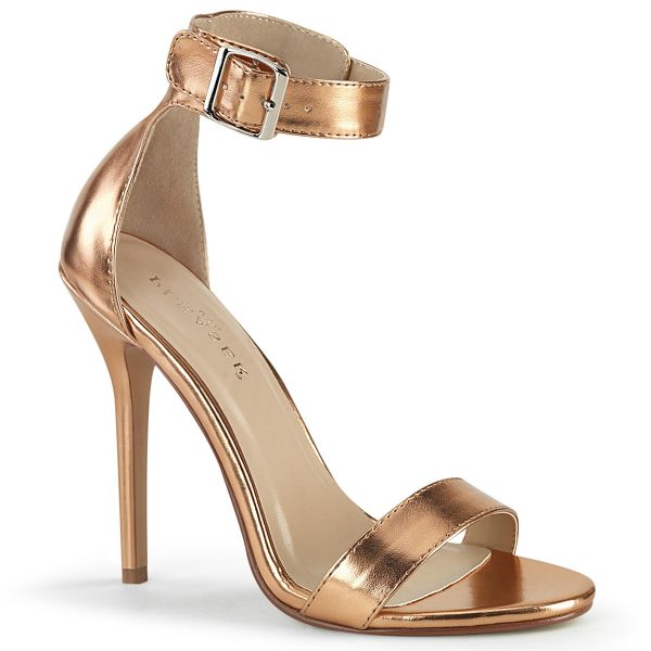 High-Heel Sandalette in rose gold mit breitem Fesselriemchen und großer silberfarbener Schnalle Amuse-10