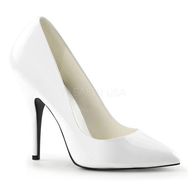 Klassischer weißer High Heel Lack Pumps SEDUCE-420