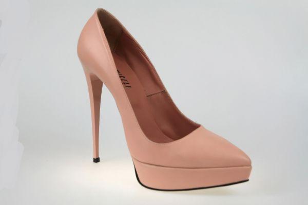 41759 rosa Leder     Exklusive rosa Leder Plateau Pumps mit High Heel Stiletto Absatz - eigene Kollektio MICELI - Made in Italy