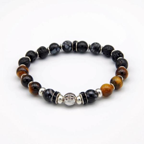 Herren Armband Tiger Stone, Lava, Obsidian