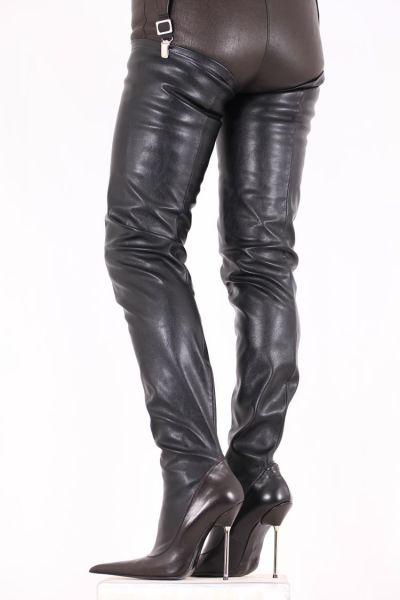 Extralanger Longpoint Overknee Stiefel mit Metallabsatz