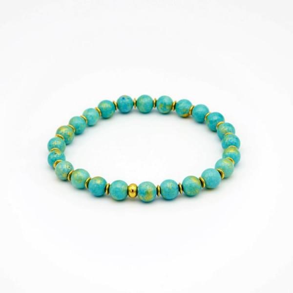 Perlenarmband mit Jade Naturstein Perlen in türkis mit goldenem Touch
